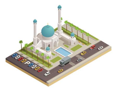 모스크 이슬람 추종자 돔과 대성당 및 인접 도로 아이소 메트릭 컴포지션 벡터 일러스트와 함께 예배 장소 건물