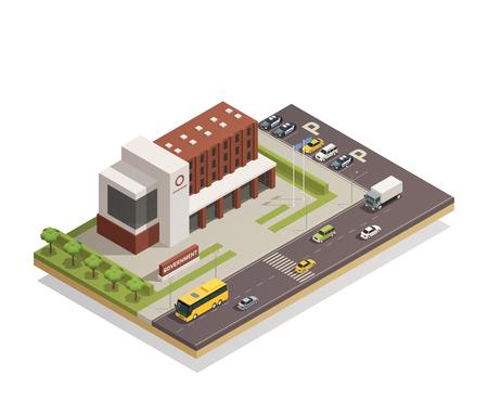 市内中心部の複合現代政府建物と周辺の地域建築構成学等角投影ビュー ベクトル図