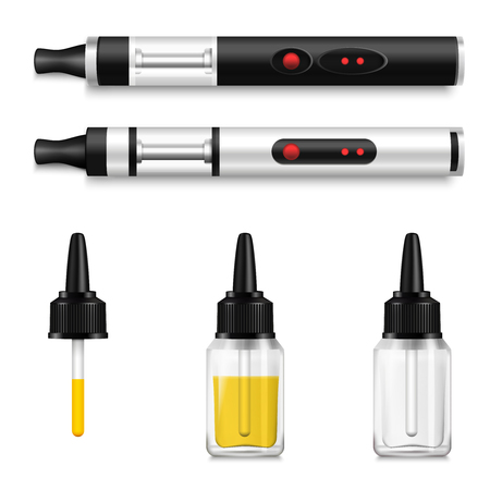 Full and empty vape bottles with dropper Illustration