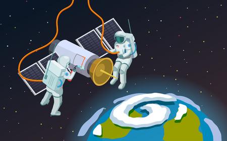 オープンスペースの宇宙飛行士  イラスト・ベクター素材