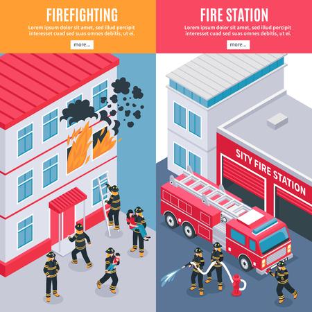 Bomberos y banderas de la estación de bomberos de la ciudad