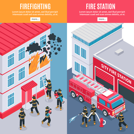 Firefighters and city fire station banners Illustration