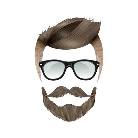 Realistic hipster brunet man
