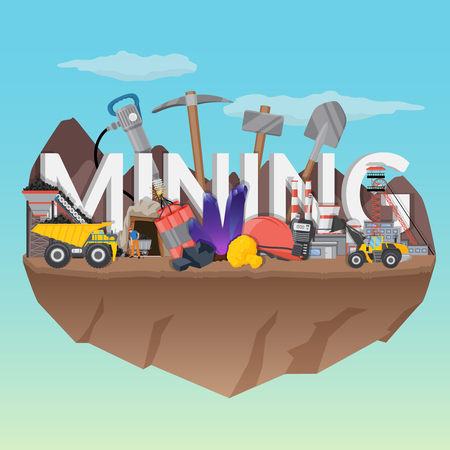 Mining flat composition with typographic lettering Иллюстрация