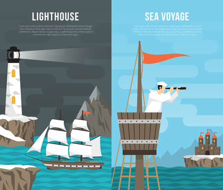 Nautical vertical banners set Illustration