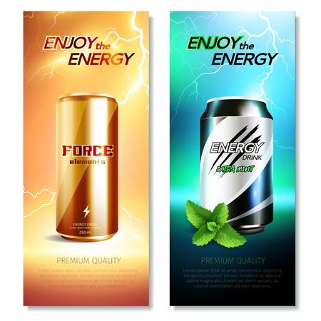 Two aluminum cans drinks banner set