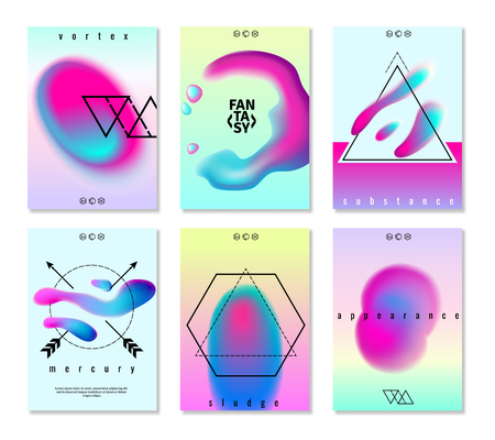 Flat set of six fantasy poster banners