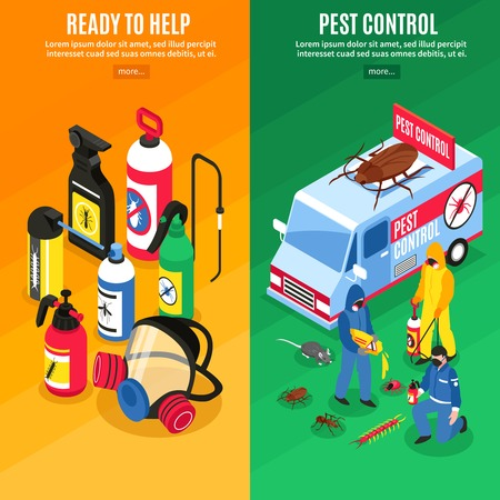 Set of pest control service workers and their equipment