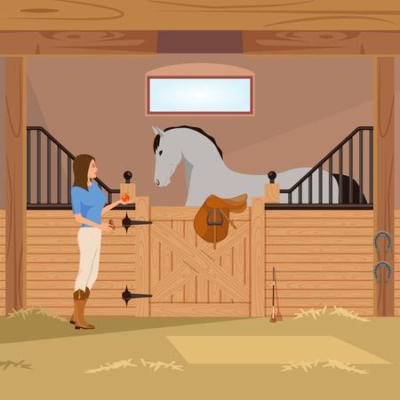 Meisje dichtbij grijze draver in box met paard