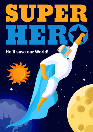 Superhero in light costume in outer space