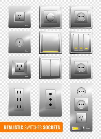 Set van realistische muur elektrische schakelaars en stopcontacten