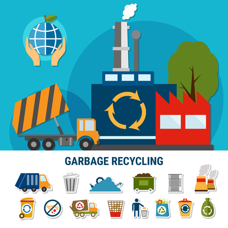 collect: Garbage flat emoji icons collection