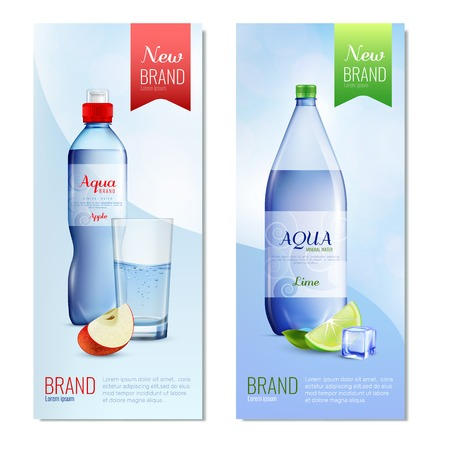 Two colored plastic bottle banner set
