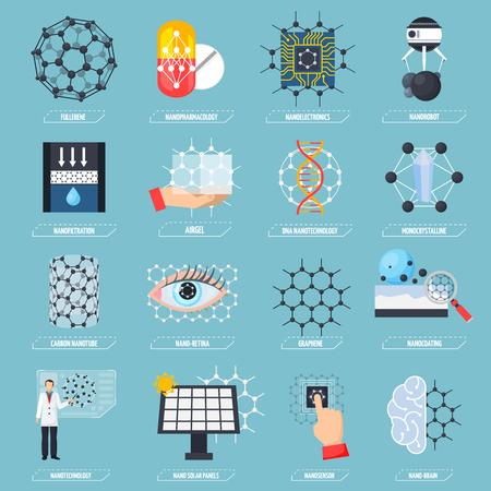 Conjunto de iconos con nanotecnologías Ilustración de vector