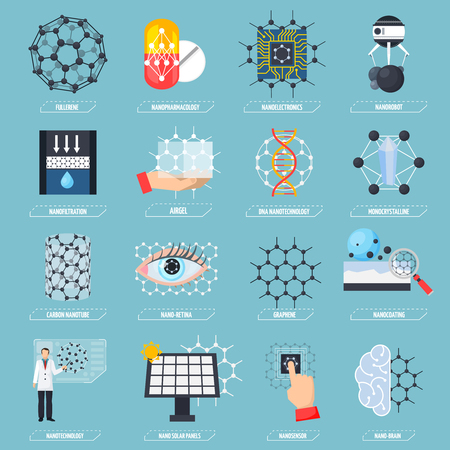 Set of icons with nanotechnologies 矢量图片