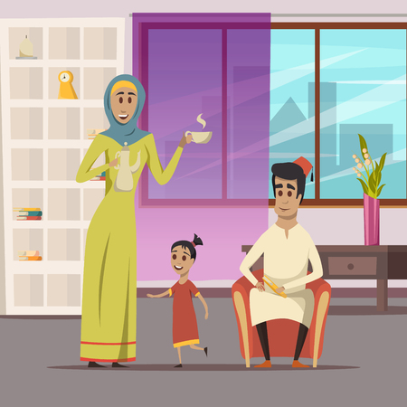Arabic family with wife husband and child at home