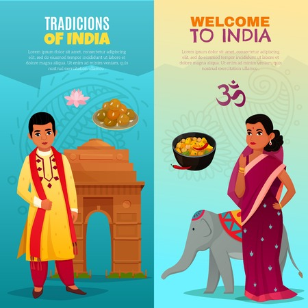 Cartoon set of two banners with traditional cuisine
