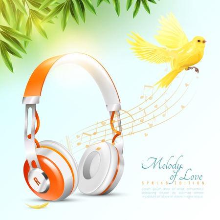 Realistic white orange headphones poster