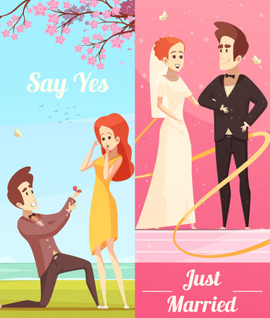 Couple in love vertical banners Illustration