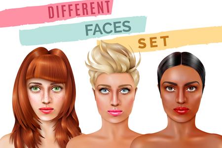 Modelowe twarze pięknych kobiet