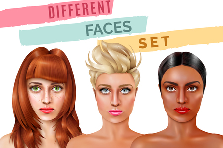 Model faces of pretty women Illustration
