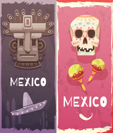 Mexico vertical banners with aztec mask festival native symbols