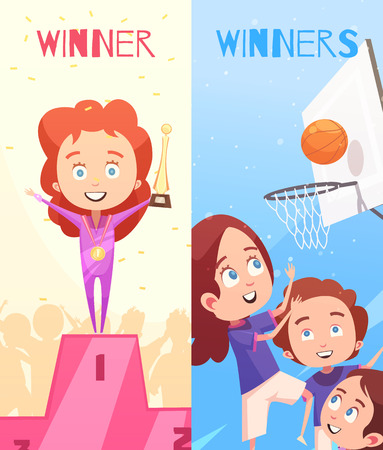 Kids sport vertical banners Illustration