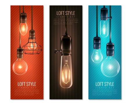 Ensemble de bannières verticales avec des ampoules incandescentes Banque d'images - 86379361
