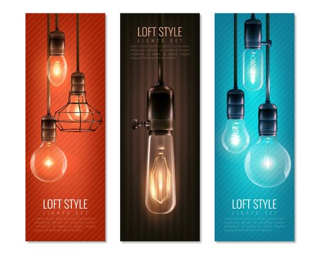 Set of vertical banners with glowing light bulbs