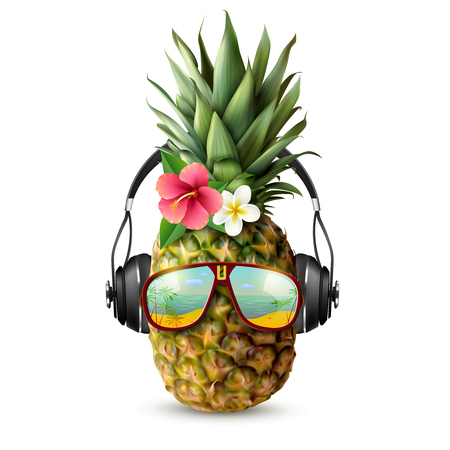 Realistic pineapple decorated with trendy accessories Imagens - 86379370