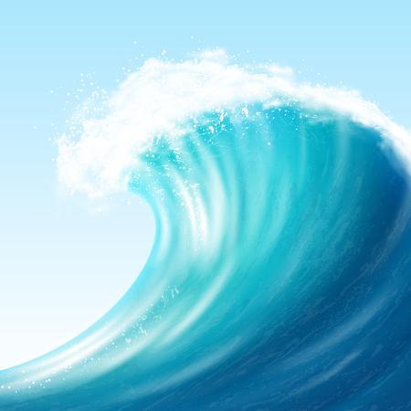 現実的な海の大きな波  イラスト・ベクター素材