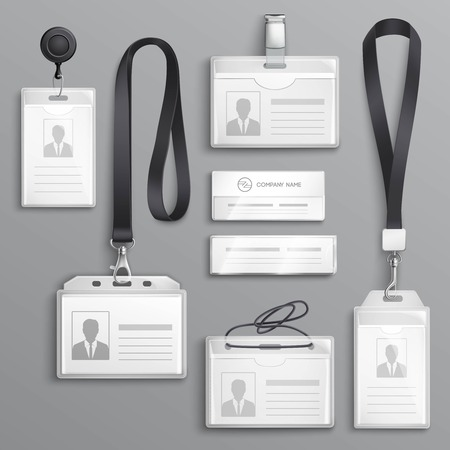Employees identification card id badges holders with  lanyards cord and strap clips black realistic samples set vector illustration 免版税图像 - 86999493