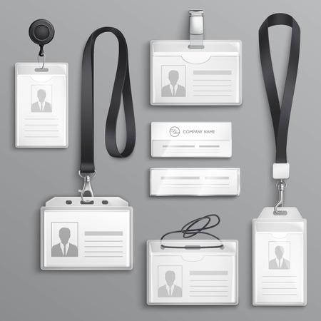 Identificación de identificación de tarjeta de identificación de los titulares de los empleados con cuerdas de cordón y clips de correa muestras realistas negras ilustración vectorial de conjunto Ilustración de vector
