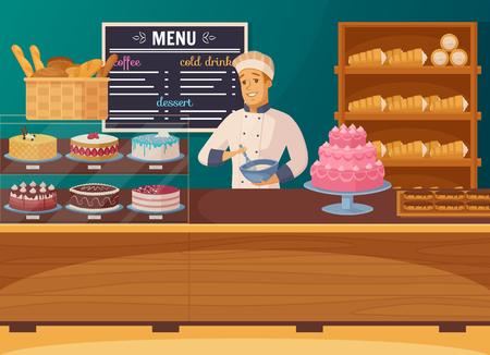 菓子屋漫画のカウンターに近い笑みを浮かべて菓子のコンポジションとショーケースのケーキとパンのベクトル図  イラスト・ベクター素材