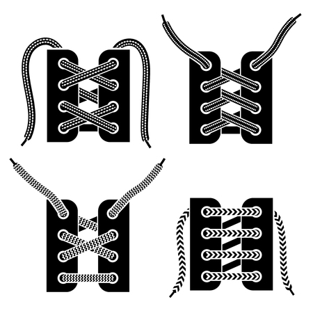 Criss-cross and trendy straight bar army boots shoe lacing 4 black icons set isolated vector illustration Çizim