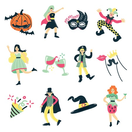 Costume party doodle collection of isolated human figures and masquerade fancy dress elements of character clothes vector illustration Illustration