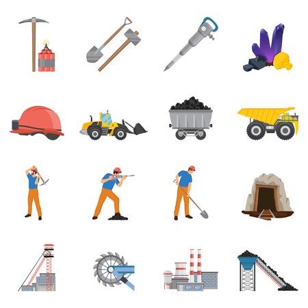 Mineralen die reeks vlakke pictogrammen met arbeiders en hulpmiddelen, steenkool, erts, machines, fabrieks geïsoleerde vectorillustratie mijnbouw