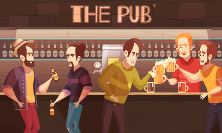 Beer pub flat vector illustration with male friends company drinking beer at bar counter background