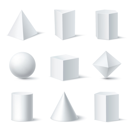 Realistic white geometric shapes set with nine isolated solid body objects on clear background with shadows vector illustration