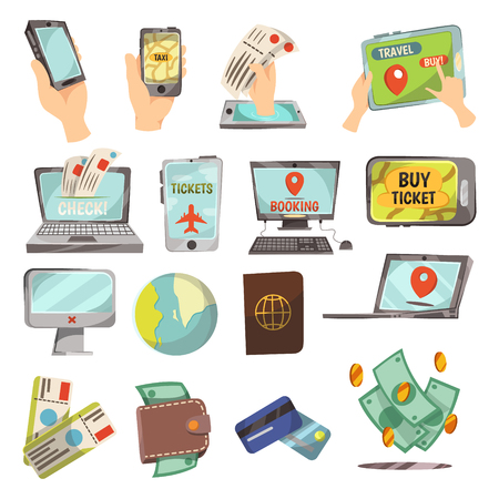 Online booking service icons set with laptop and smartphone flat isolated vector illustration Vector Illustration