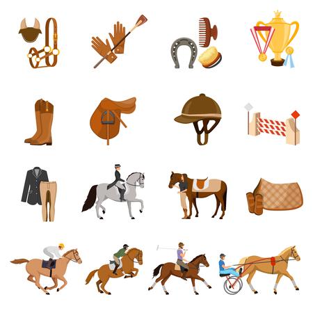 De ruitersportreeks vlakke pictogrammen met dravers, paardtoestel, geeft voorwerpen, ruiters, trofeeën geïsoleerde vectorillustratie uit Stockfoto - 86999507
