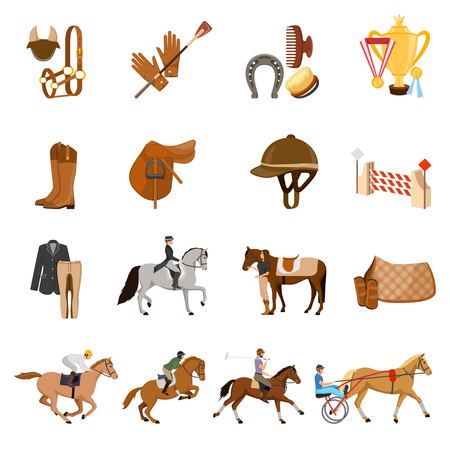 Equestrian sport set of flat icons with trotters, horse gear, care objects, riders, trophies isolated vector illustration Banco de Imagens - 86999507