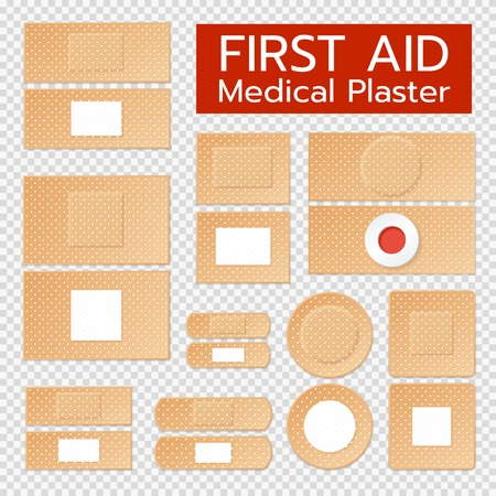 Set of realistic medical plasters of beige color with antiseptic treatment isolated on transparent background vector illustration