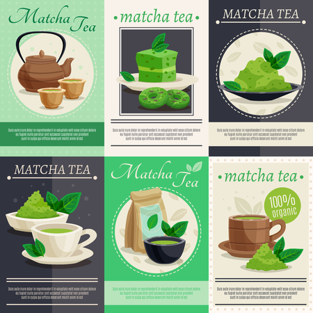 Japanese tea ceremony 6 mini banners poster with  green matcha powder teapot cups dessert set isolated vector illustration