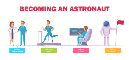 Astronauts selection medical tests training course and ready for launch pilot cartoon character set isolated vector illustration
