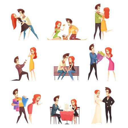 Pareja en amor elementos decorativos planos con mujeres jóvenes y hombres bailando reunión al aire libre en café y ceremonia de matrimonio aislado ilustración vectorial Foto de archivo - 86999513