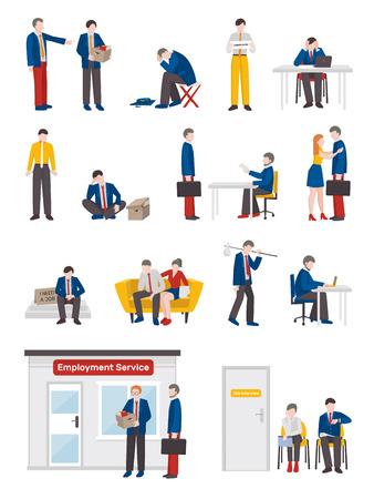 Werkloze mensen vlakke inzameling met geïsoleerde menselijke karakters van overtollige arbeiders in de verschillende vectorillustratie van het levenssituaties Stock Illustratie