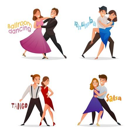 Dansparen 4 retro cartoon pictogrammen instellen met tango salsa en balzaal wals stappen geïsoleerde vector illustratie