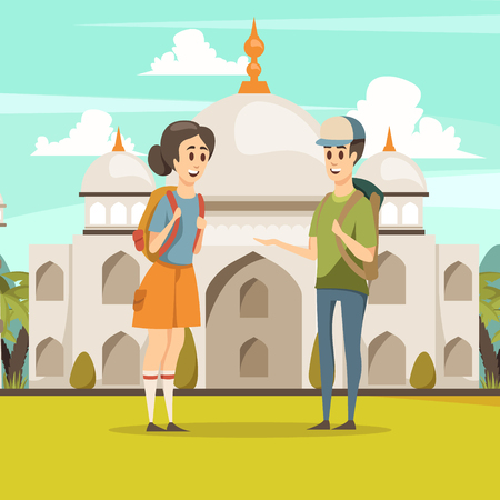 Travel in india flat composition with young  tourist couple on taj mahal mausoleum background vector illustration Illustration