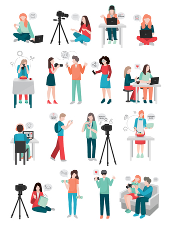 Bloggers people flat set of isolated doodle style characters doing social media activities with thought bubble pictograms vector illustration Illustration